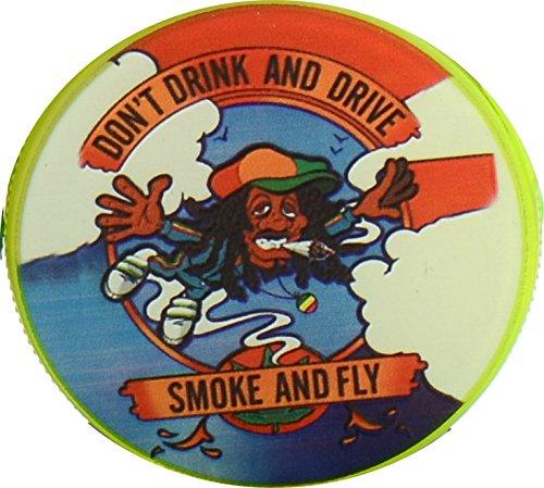 Tabak-Grinder aus Acryl magnetisch mit Pollensieb und Aufbewahrungsfach & Hanfblatt-Anhänger. (Don\'t drink+drive)