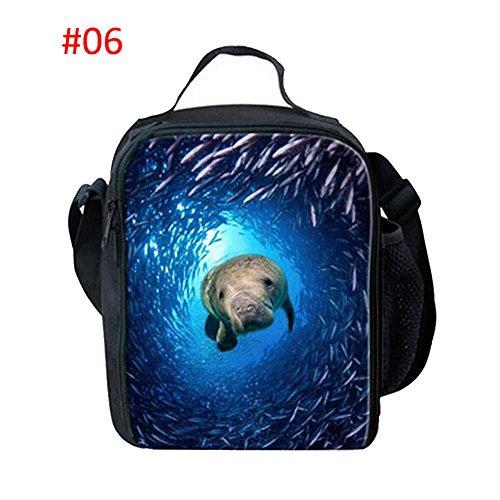 Meijunter Underwater World Stampare Termico Insulated Refrigeratore Travel Scuola Picnic Borsa per il pranzo Per Travel Camping Work Scuola #06