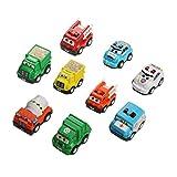 Mini Autos Spielzeug Kunststoff Pull-Back Fahrzeuge Lastwagen Set für Kinder ab 3 Jahren (9 PCS)