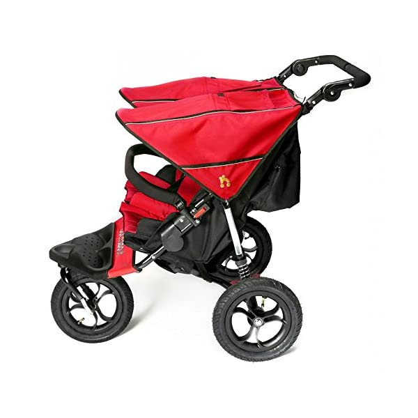 Out 'N' About Nipper Double V4 - Carnival Red  LATEST V4 MODEL Twin independant sun canopy's & peek-a-boo window & auto-locking fold NARROW 72cm WIDTH! All-terrain 3-Wheeler pushchair, suitable for use from Birth to 4 years (approx) Independent Multi-position adjustable backrest, including lie flat with 5-Point Safety Harness 3