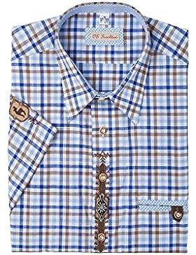 OS-Trachten Herren Trachtenhemd kurzarm blau-braun Applikationen Robert 002403