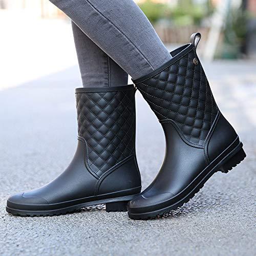 Damen Kurze Gummistiefel,Plaid Lässige Mode Regen Stiefel In Der Tube Nach Schwarz Frauen Wasserdichte Regen Schuhe Weiches Innenfutter Gepolsterte Fußbett Wellington Für Das Eva-Fußbett Regen B -