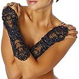 ERGEOB® Damen Stulpen Handschuhe aus Spitze mit kleinen Perlen Schwarz einheitsgröße für Hochzeit