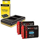 Bundlestar Dual Charger (No.1974) pour Sony NP-BX1 + 2x Baxxtar Pro Batterie (véritable 1090mAh) pour Sony NP-BX1 pour Sony CyberShot DSC RX100 RX100 II RX100 III RX100 IV M4 RX1 RX1r HX50 HX50V HX60 HX60V HX80 HX80V HX90 HX90V ... et tous les autres, avec la batterie d'origine Sony NP-BX1