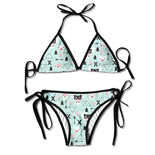Women's Thong Bikini Suit Swimsuit Owls Bears and Foxes Sexy Bikini Set 2 Piece