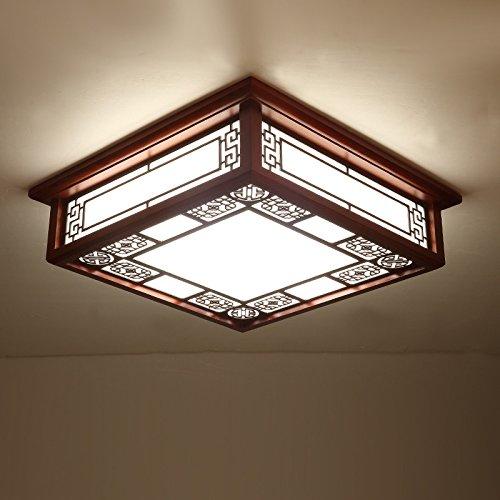 GQLB Il soggiorno di luce LED quadrati in legno chiaro legno scuro luce da soffitto 3 luce di colori (550*550*120mm),