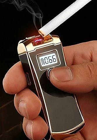 [Puissance restant Indicateur] cjoy briquets Arc électrique sans flamme USB rechargeable avec affichage LED pour Noël Anniversaire Cadeaux - Black Gold