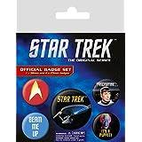 Set: Star Trek, Mr. Spock, Beam Me Up, 1 X 38mm & 4 X 25mm Chapas Set De Chapas (15x10 cm) Y 1x Pegatina Sorpresa 1art1®