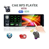 LSLYA 12V Autoradio Touch Screen Capacitivo da 4.1 Pollici Bluetooth MP5 Player, Doppia USB/AUX/TF/FM/AM/RDS, Con telecamera posteriore e telecomando sul volante