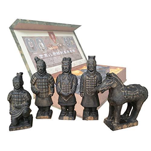 Terra Cotta Warriors, China, Qin Dynasty Terra Cotta Warriors Skulptur Home Display Tisch Geschenk Multi Präsentation 18cm hoch, Set of 5