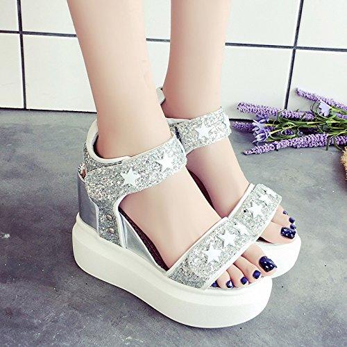 RUGAI-UE Con suole spesse sandali donna estate calzatura Waterprohigh-Heeled Sequined Calzature Donna Silvery