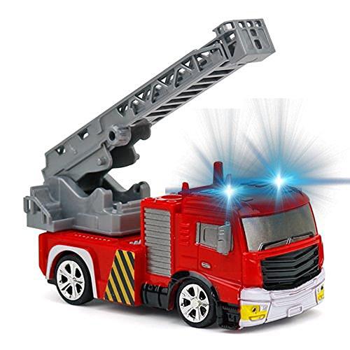 RC Auto kaufen Feuerwehr Bild 2: Brigamo Mini RC Feuerwehrauto mit Blaulicht, Ferngesteuertes Auto im Deko Feuerlöscher, Feuerwehr Leiterwagen, ideales Geschenk für Feuerwehr Fans (40 Mhz)*