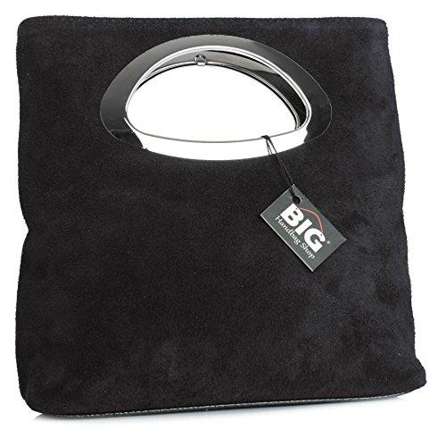 Big Handbag Shop, pochette da donna, da sera, in pelle scamosciata, tinta unita, con manico Black (KL182)