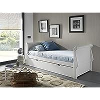 Venta-Muebles - Cama nido gondola 90 x 190 lacado blanco