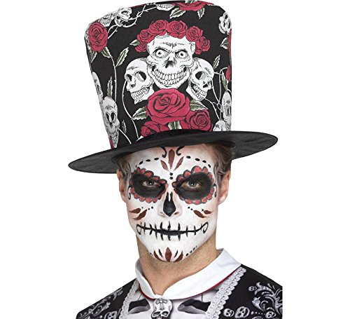 Smiffy's Chistera y Maquillaje del día de Muertos para Adultos