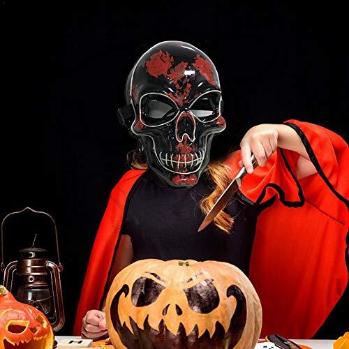 awhao LED Maske Halloween - Horror Maske Halloween Schwarz Blutiger Thriller Kopf Leuchtende Maske, LED Festival Party Abschlussball Halloween Grusel Maske sale2019 (Halloween 2 Maske 2019)