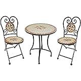 Mediterranes 3tlg. Balkonset Mosaik AMARILLO Sitzgruppe Metall Stuhl Tisch rund Gartentisch