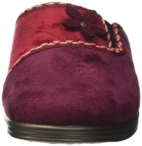 Inblu Ra000071, Pantoufles Ouvertes Sur La Cheville Femme Rouge (prune)