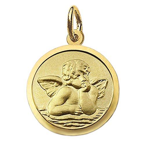 """CLEVER SCHMUCK Goldener kleiner Anhänger Engel rund Ø 10 mm matt und Rand glänzend, Rückseite seidenmatt mit Gravur """"Gott schütze Dich"""" 333 GOLD 8 KARAT"""