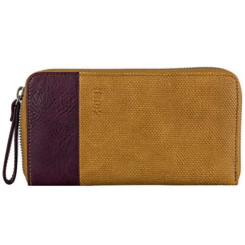 Zwei Eva EV2 Reißverschluss Geldbörse Portemonnaie Geldbeutel Brieftasche, Canvas-curry (Braun)