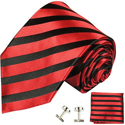 Cravate rouge noire ensemble de cravate 3 Pièces ( 100% Soie Cravate + Mouchoir + Boutons de manchette )