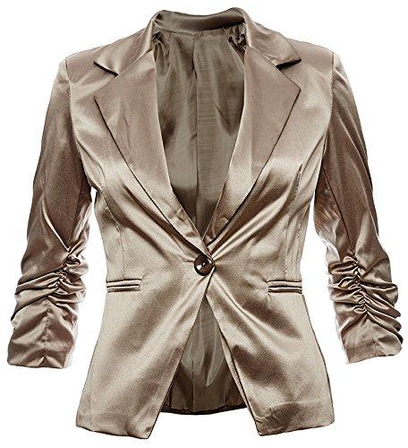 Blazer elegante da donna in cotone, giacca business, tempo libero, festa, In 26colori, 40424446 Braun Metallic