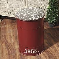 JILAN HOME Stool- Taburete industrial azul hierro pintura cubo almacenamiento taburete loft barra redonda silla Cafe tienda zapatos decorativos taburete sin respaldo 33 * 45cm Stool ( Color : Rojo )