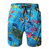 khgkhgfkgfk Quick Dry Beach Shorts Marine Fish Turtle Print Swim Trunks Surf Board Pants with Pockets for Men Large