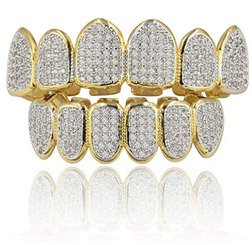 L&H Hip Hop Teeth Grill Set Microset Diamond Braces Vampire Zähne Grillz BBQ Mode Schmuck Männer und Frauen Paint Gifts,Gold -
