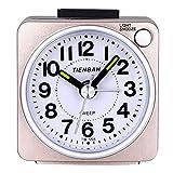 Relojes de alarma para niños Niños, Relojes de alarma Relojes de alarma analógicos para niños Sin garrapatas Reloj de alarma silencioso con luz nocturna luminiscente para niños Niños (Mini Gold)