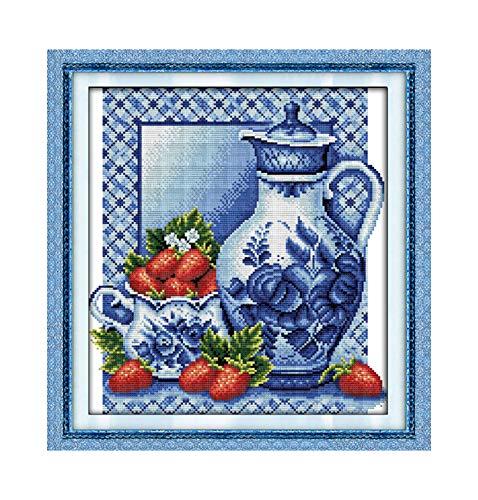 Colour Pottery Porzellan-Fruchtgemälde chinesisches Kreuzstich-Set, Heimdekoration, gezählt, gedruckt auf Leinwand, DMC 14CT 11CT Stickerei-Set, canvas, Porcelain Fruit 2, 11CT White Canvas -