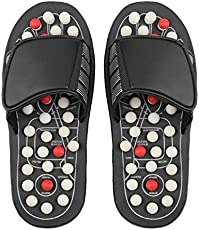 TOUA Acupressure Leg Foot Massager Acupoint Massage Ball Slippers, Shoes Reflexology Sandals for Men Women, Black (12 x 8.6 x 8.7 CM) Free Size.