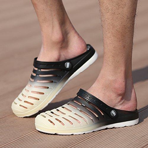 Xing Lin Beach Flip Flop Estate Uomini Foro Pantofole Scarpe Scarpe Da Spiaggia Alla Moda Di Metà Femmina Pantofole Coppie Di Grandi Dimensioni Sandali 233-14 black rice