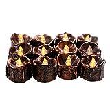 Achort 12er Teelichter, Warme Weiße Flackernde Kleine LED Elektronische Kerzen, 100 Stunden für Halloween Weihnachten Geburtstagsparty, 4,3 x 3,6 cm, Batterien inklusive