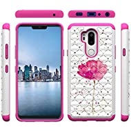 BONROY LG G7 Case, Heavy Duty High Impact Resistant Protective Case Cover for LG G7 - (YB-painted diamond flower)