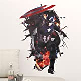 GADGETS WRAP Avengers Wall Stickers For Kids Bedroom Living Room 3D Effect Cartoon Wall Decals Home Decor