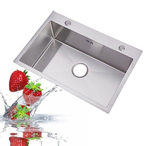 OUKANING fregadero/fregadero empotrado fregadero acero inoxidable fregadero de cocina plaza con escurridor...