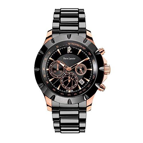 Reloj Pierre Lannier para hombre–negra y acero/piel negra–367C039–en Soldes