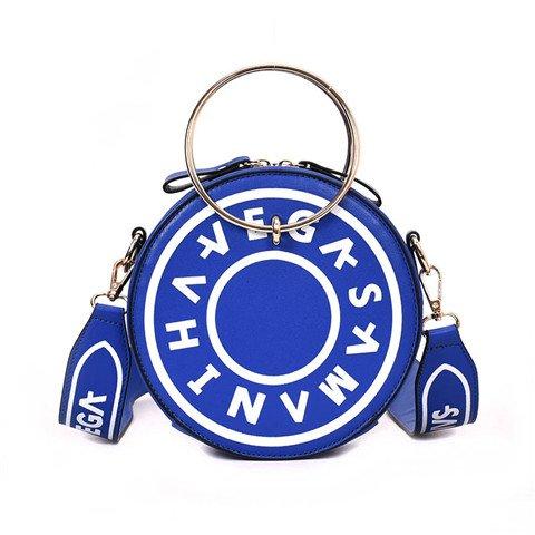 Damen Rund, PU-Leder Box Handtaschen Messenger Bag Damen Ursächlichen Umhängetaschen Kreis Ring Crossbody Taschen, Damen, Blau