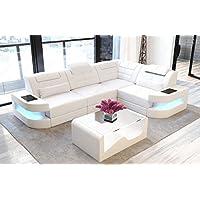 738d41efd5ddb3 Canapé en cuir Côme en forme de l blanc Canapé-lit canapé d angle