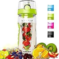 Degbit Bouteille, Eco-Friendly Sprots Bouteille d'eau Plastique Tritan sans BPA, 1 Litre Bouteille Isotherme BPA-Free, Bouteille à Infusion de Fruits avec Boucle Lock