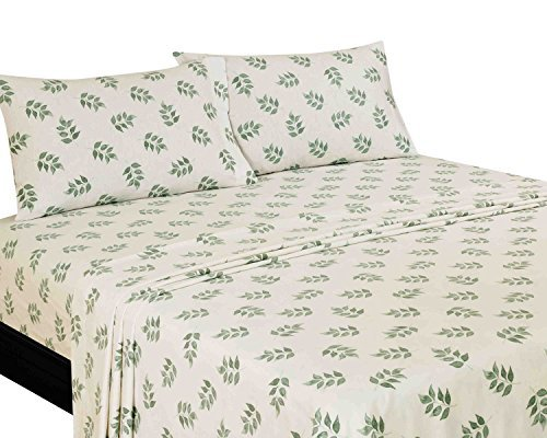 American Homes CTFLNLWHWSHLFGRN3 Wilshire Hill Cotton Flannel Printed Washy Leaves Sheet Set, Queen, Green/White by American Homes (Queens Leaf Green)