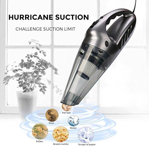 LCLrute Hohe Qualität 12 V Handstaubsauger, 75dB Stille Pet Haar Vakuum für Haus & Auto Reinigung (Grau)