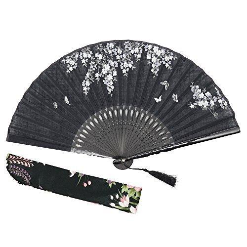 OMyTea - 'Sakura Love', faltbarer Handfächer für Frauen, Japanischer / Chinesischer Retrostil, mit einem Stoffbeutel zum Schutz, für Hochzeit, Tanz, Kirche, Party, Geschenk, Bambus, Schwarz  - Nylon-laternen Japanisch