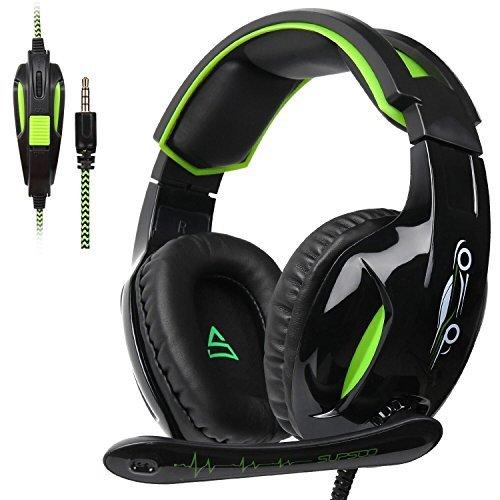 SUPSOO Stereo Gaming Kopfhörer G813, 3,5mm, Over-Ear-Kopfhörer, Headset mit Mikrofon für PS4, die Neue Xbox One und PC mit Geräuschreduzierung und Lautstärkenregler, schwarz & grün -