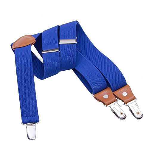 Suspenders for Kids Boys Girls - Adjustable Elastic Y-Back Strong Clips Braces (27.6 - 29.5 Inch ( 3 Years - 8 Years), Royal blue)