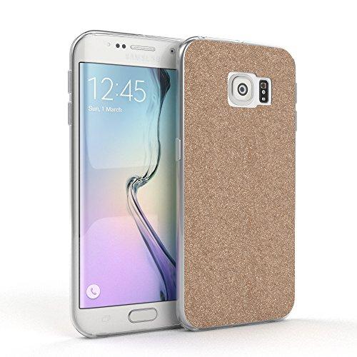 Samsung Galaxy S6 Edge Hülle - EAZY CASE Handyhülle - Ultra Slim Glitzer Schutzhülle aus Silikon in Anthrazit Glitzer Champagner
