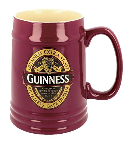 Guinness Ruby Red Ceramic Tankard with Classic Collection Label Design