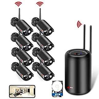 Wireless Home Security Camera Systems, ANRAN 8CH 1080P WiFi NVR Video Surveillance System with 8pcs 2.0MP Outdoor Waterproof CCTV IP Cameras, Auto Pair, Plug & Play, Remote View, Night Vision, 2TB HDD