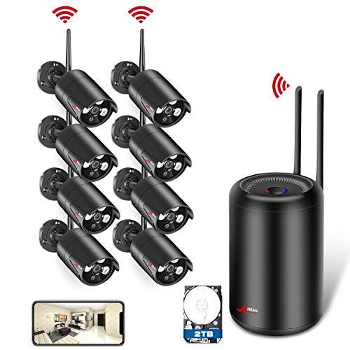 Kit Cámaras de Vigilancia WiFi para el Hogar, ANRAN 1080P Kit Cámaras IP CCTV Inalambrico 8CH Sistema de Videovigilancia con 8Pcs Cámaras IP de Seguridad y 2TB HDD, Instalación Facíl, Acceso Remoto
